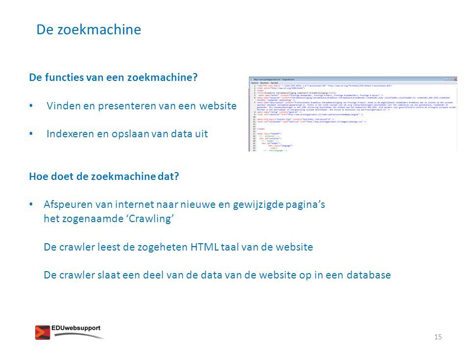 De zoekmachine De functies van een zoekmachine? • Vinden en presenteren van een website • Indexeren en opslaan van data uit Hoe doet de zoekmachine da