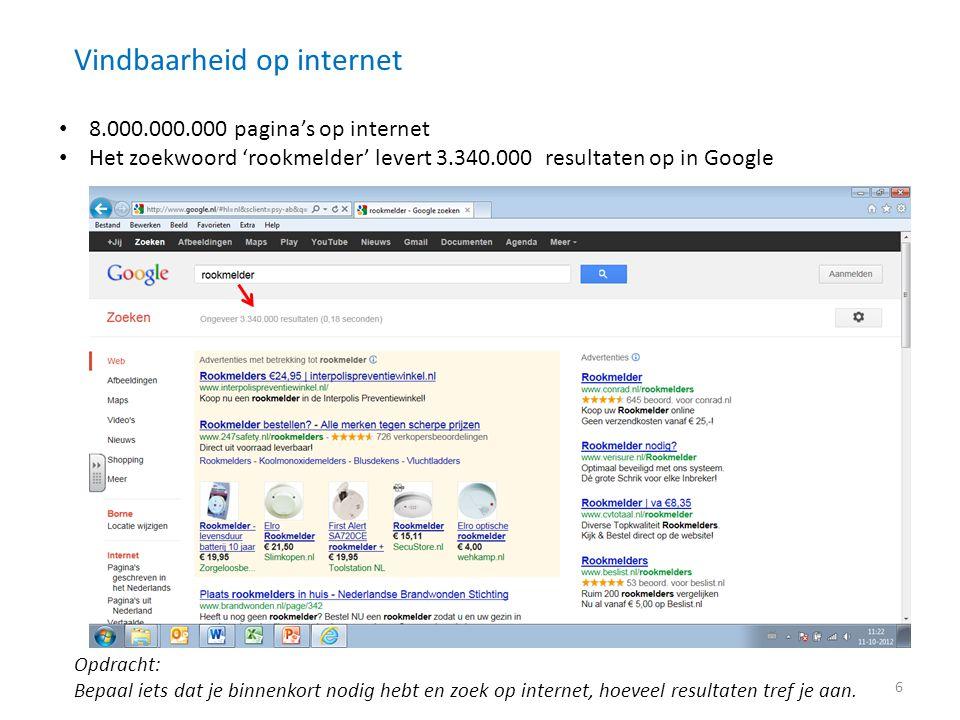 Vindbaarheid op internet • 8.000.000.000 pagina's op internet • Het zoekwoord 'rookmelder' levert 3.340.000 resultaten op in Google Opdracht: Bepaal i