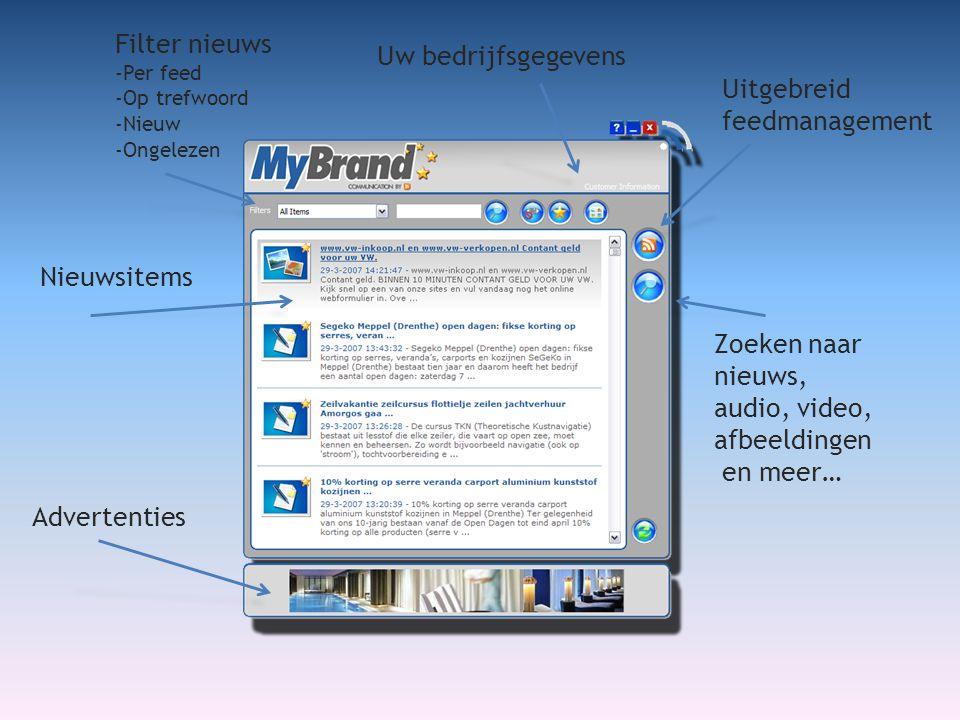 Uw bedrijfsgegevens Filter nieuws -Per feed -Op trefwoord -Nieuw -Ongelezen Uitgebreid feedmanagement Zoeken naar nieuws, audio, video, afbeeldingen en meer… Nieuwsitems Advertenties