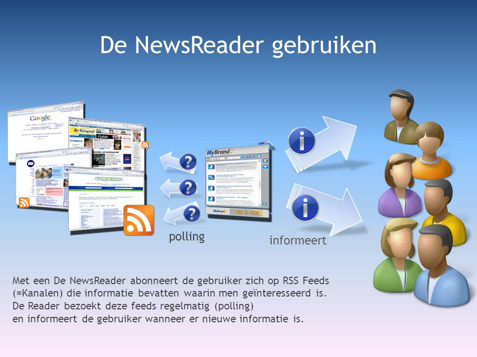 De NewsReader gebruiken Met een De NewsReader abonneert de gebruiker zich op RSS Feeds (=Kanalen) die informatie bevatten waarin men geïnteresseerd is.
