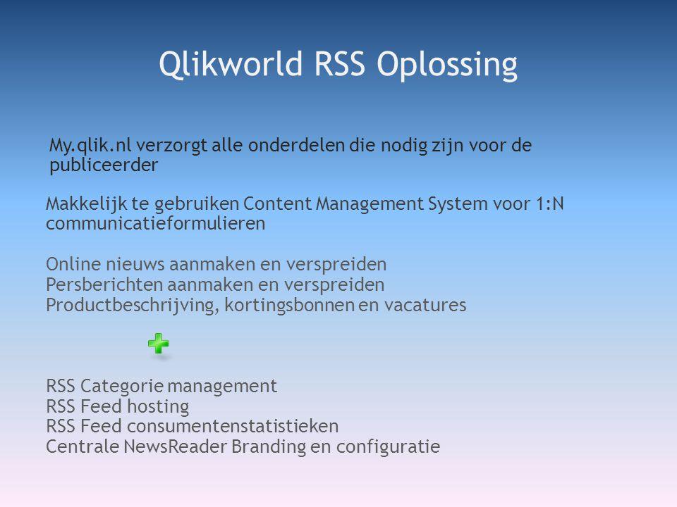 My.qlik.nl verzorgt alle onderdelen die nodig zijn voor de publiceerder Qlikworld RSS Oplossing Makkelijk te gebruiken Content Management System voor 1:N communicatieformulieren Online nieuws aanmaken en verspreiden Persberichten aanmaken en verspreiden Productbeschrijving, kortingsbonnen en vacatures RSS Categorie management RSS Feed hosting RSS Feed consumentenstatistieken Centrale NewsReader Branding en configuratie