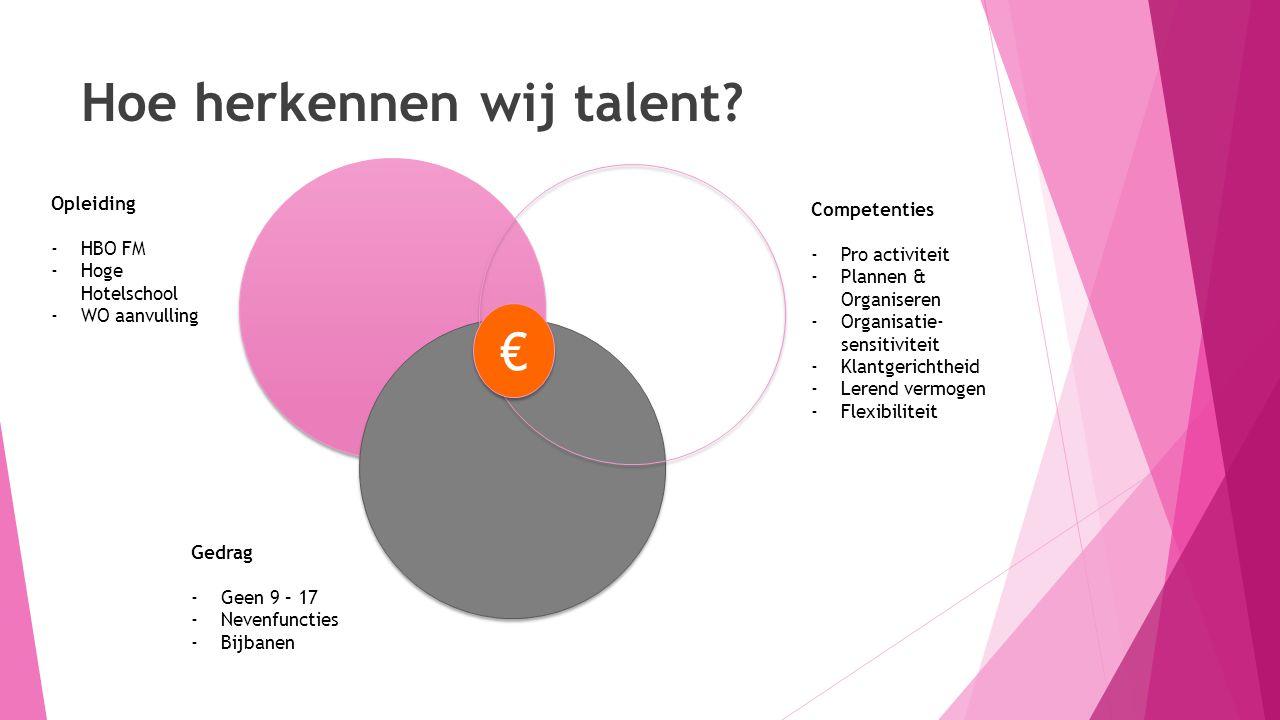 Hoe herkennen wij talent? Opleiding -HBO FM -Hoge Hotelschool -WO aanvulling € € Competenties -Pro activiteit -Plannen & Organiseren -Organisatie- sen