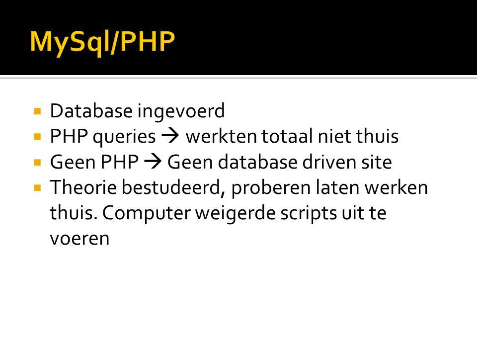  Database ingevoerd  PHP queries  werkten totaal niet thuis  Geen PHP  Geen database driven site  Theorie bestudeerd, proberen laten werken thui