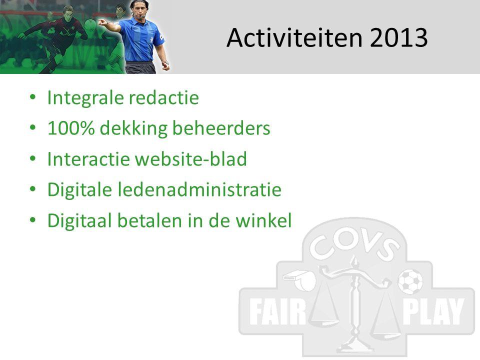 Activiteiten 2013 • Integrale redactie • 100% dekking beheerders • Interactie website-blad • Digitale ledenadministratie • Digitaal betalen in de winkel