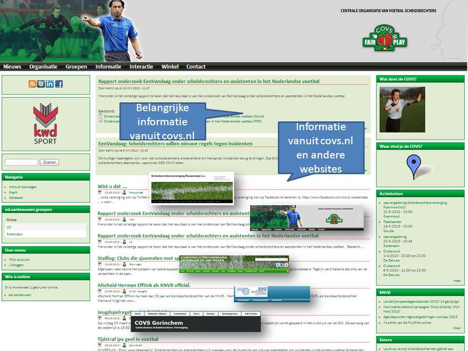 Belangrijke informatie vanuit covs.nl Informatie vanuit covs.nl en andere websites