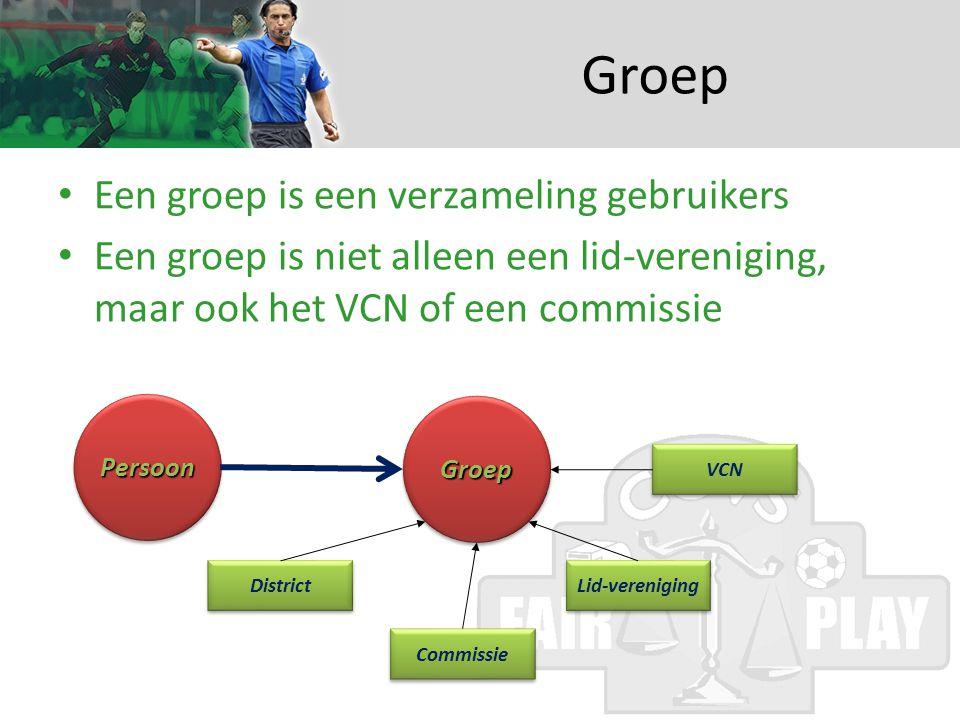 Groep • Een groep is een verzameling gebruikers • Een groep is niet alleen een lid-vereniging, maar ook het VCN of een commissie PersoonPersoon GroepGroep District Lid-vereniging Commissie VCN