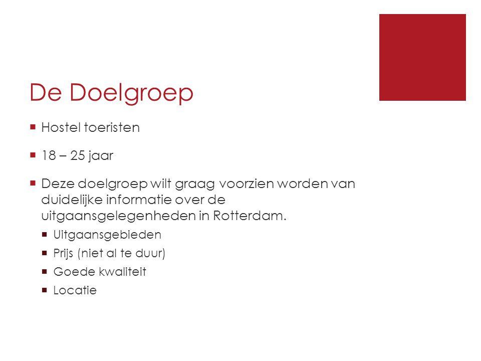 De Doelgroep  Hostel toeristen  18 – 25 jaar  Deze doelgroep wilt graag voorzien worden van duidelijke informatie over de uitgaansgelegenheden in Rotterdam.