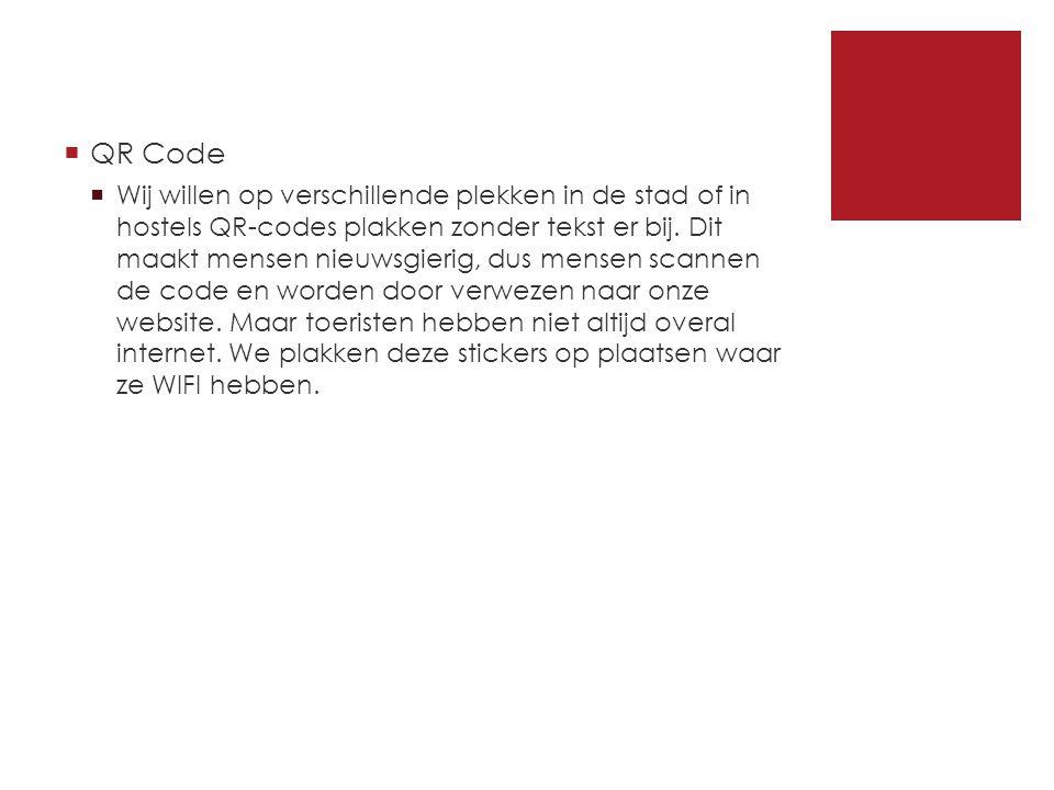  QR Code  Wij willen op verschillende plekken in de stad of in hostels QR-codes plakken zonder tekst er bij.
