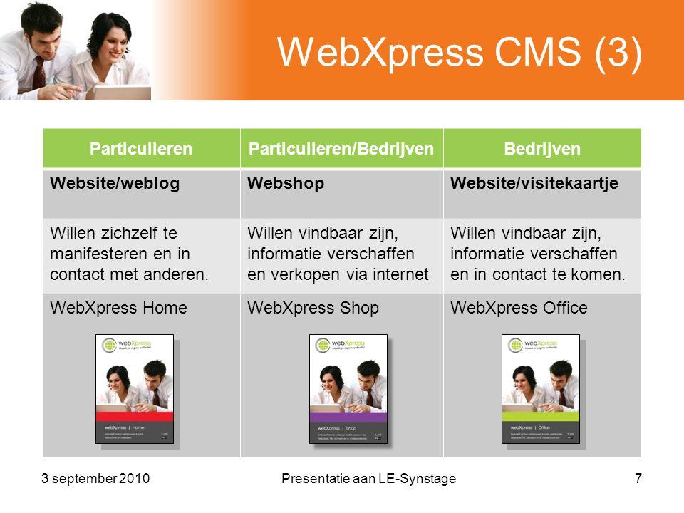 Website vindbaarheid (3) •Leidt de bezoeker door website 18Presentatie aan LE-Synstage3 september 2010