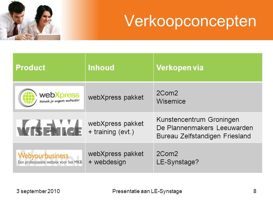 Verkoopconcepten ProductInhoudVerkopen via webXpress pakket 2Com2 Wisemice webXpress pakket + training (evt.) Kunstencentrum Groningen De Plannenmakers Leeuwarden Bureau Zelfstandigen Friesland webXpress pakket + webdesign 2Com2 LE-Synstage.