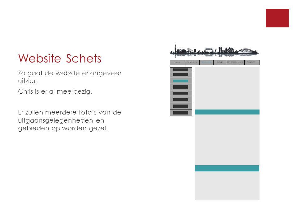 Website Schets Zo gaat de website er ongeveer uitzien Chris is er al mee bezig.