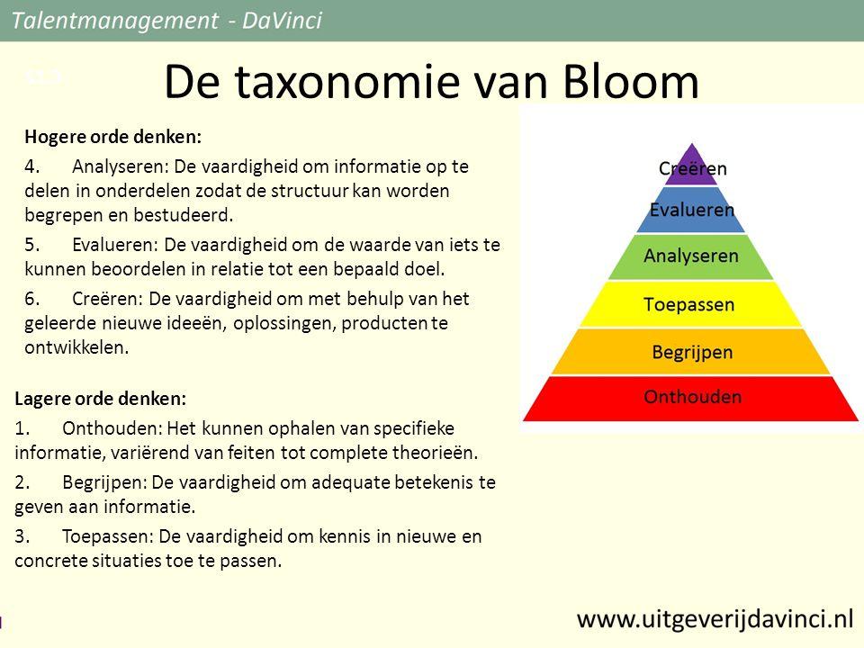 De taxonomie van Bloom Lagere orde denken: 1.