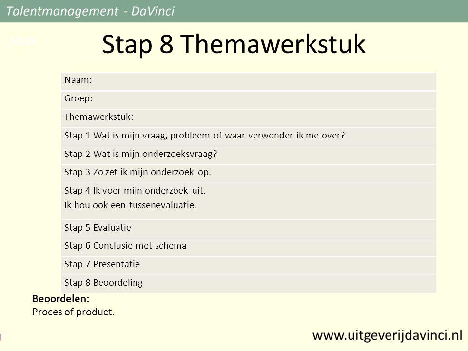 Stap 8 Themawerkstuk Beoordelen: Proces of product.