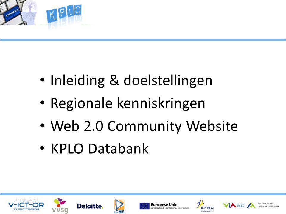 • Inleiding & doelstellingen • Regionale kenniskringen • Web 2.0 Community Website • KPLO Databank