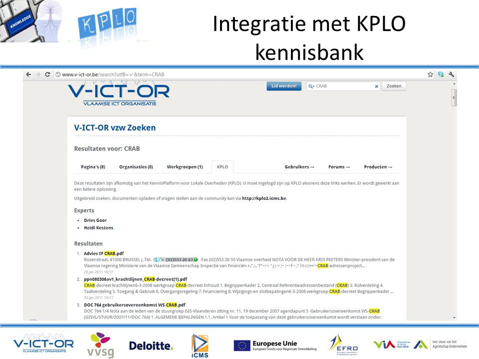 Integratie met KPLO kennisbank