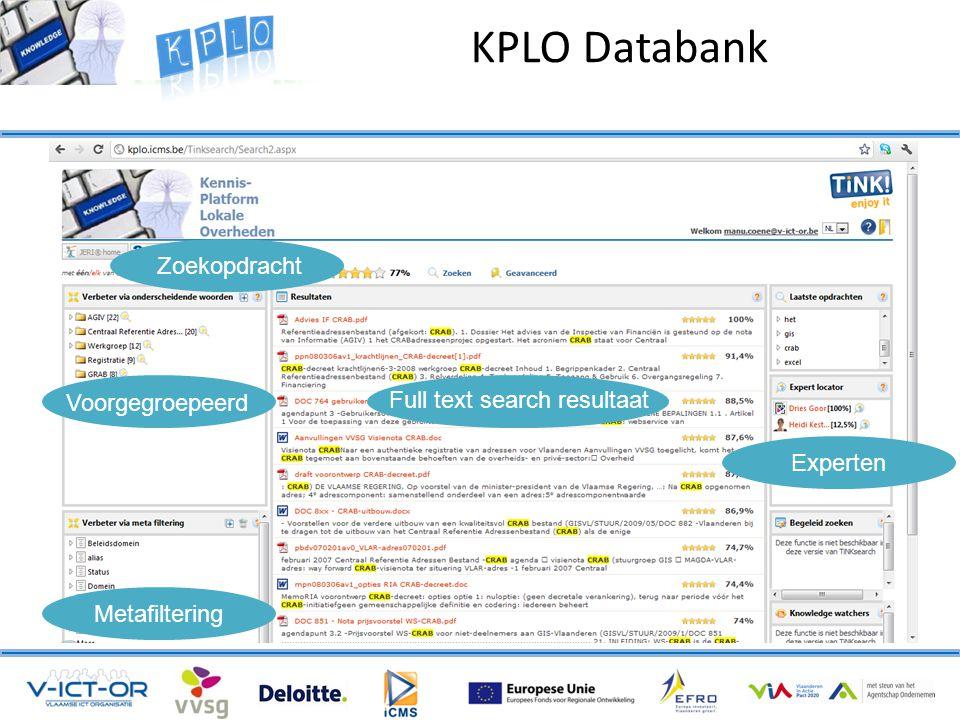 Zoekopdracht Voorgegroepeerd Metafiltering Experten Full text search resultaat