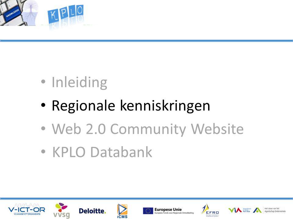 • Inleiding • Regionale kenniskringen • Web 2.0 Community Website • KPLO Databank
