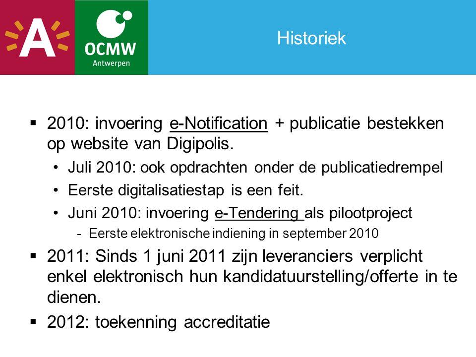 Historiek  2010: invoering e-Notification + publicatie bestekken op website van Digipolis. •Juli 2010: ook opdrachten onder de publicatiedrempel •Eer