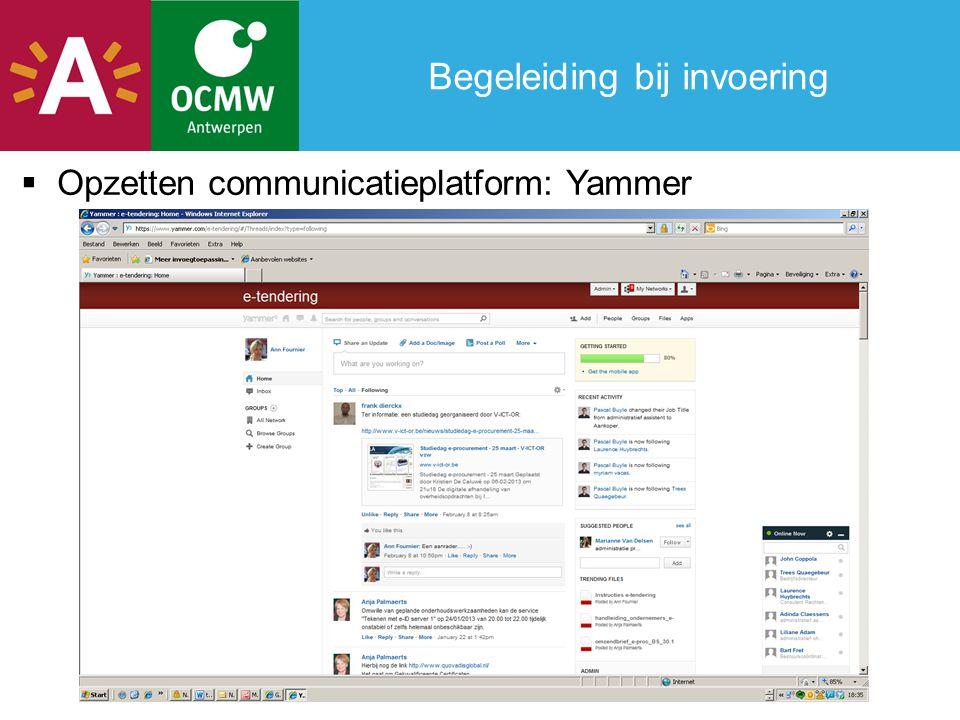 Begeleiding bij invoering  Opzetten communicatieplatform: Yammer