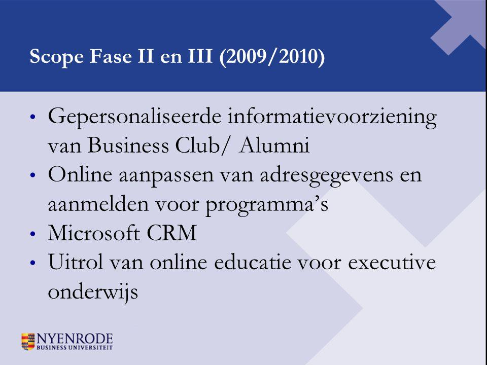 Scope Fase II en III (2009/2010) • Gepersonaliseerde informatievoorziening van Business Club/ Alumni • Online aanpassen van adresgegevens en aanmelden