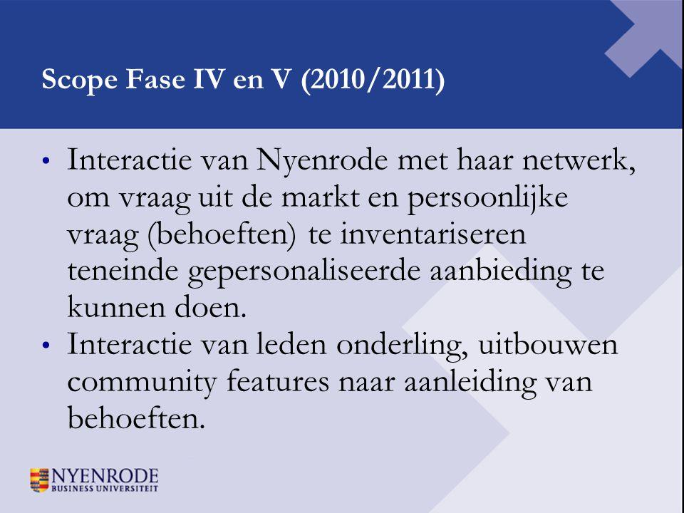 Scope Fase IV en V (2010/2011) • Interactie van Nyenrode met haar netwerk, om vraag uit de markt en persoonlijke vraag (behoeften) te inventariseren t