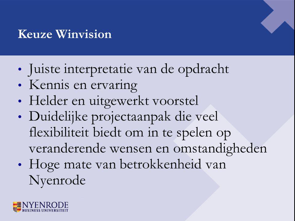Keuze Winvision • Juiste interpretatie van de opdracht • Kennis en ervaring • Helder en uitgewerkt voorstel • Duidelijke projectaanpak die veel flexib