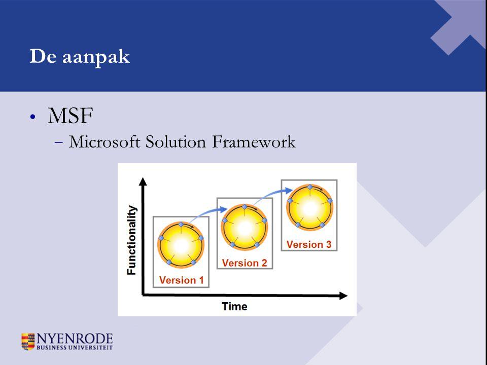De aanpak • MSF − Microsoft Solution Framework
