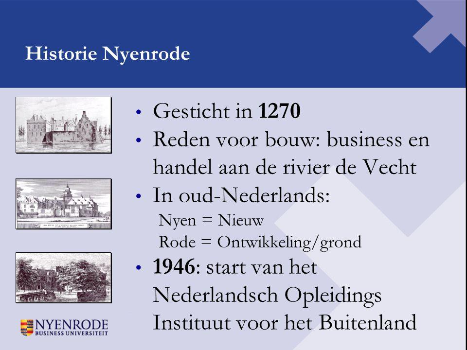 Historie Nyenrode • Gesticht in 1270 • Reden voor bouw: business en handel aan de rivier de Vecht • In oud-Nederlands: Nyen = Nieuw Rode = Ontwikkelin