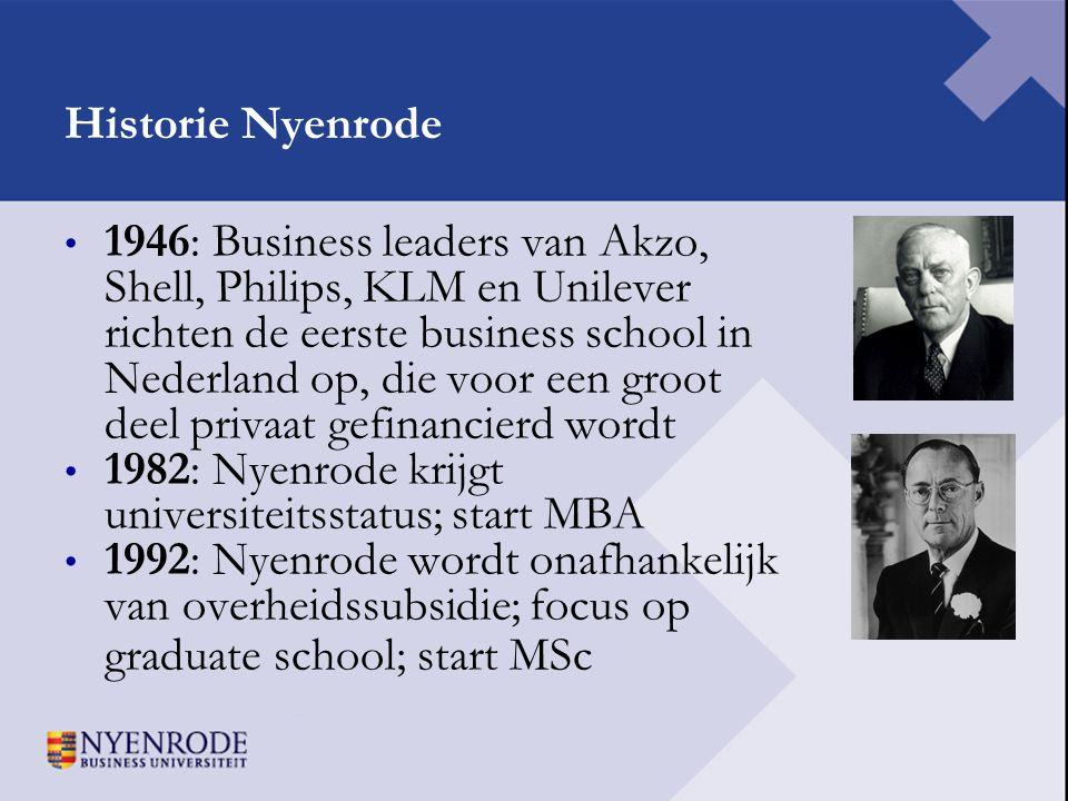 Historie Nyenrode • 1946: Business leaders van Akzo, Shell, Philips, KLM en Unilever richten de eerste business school in Nederland op, die voor een g