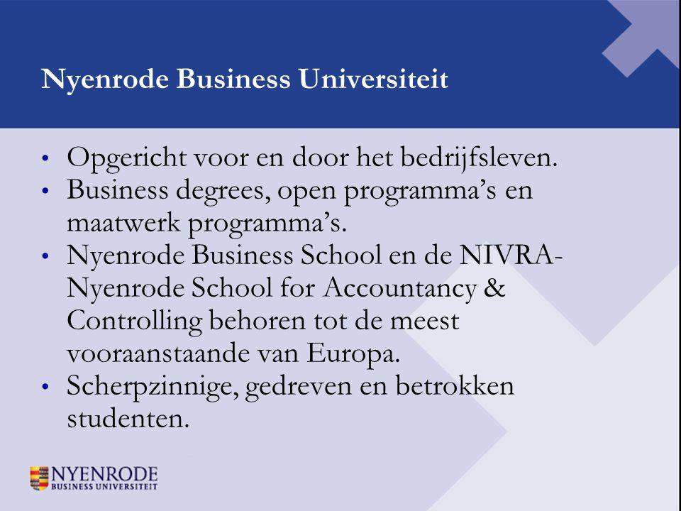 Nyenrode Business Universiteit • Opgericht voor en door het bedrijfsleven. • Business degrees, open programma's en maatwerk programma's. • Nyenrode Bu