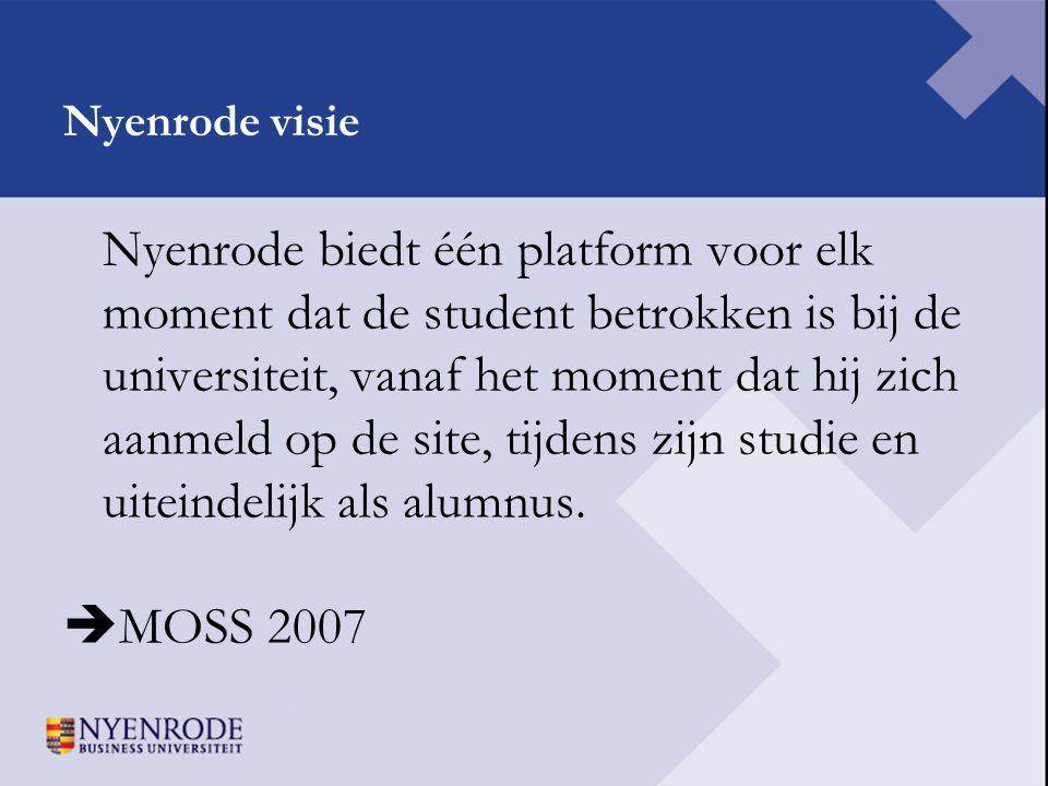 Nyenrode visie Nyenrode biedt één platform voor elk moment dat de student betrokken is bij de universiteit, vanaf het moment dat hij zich aanmeld op d