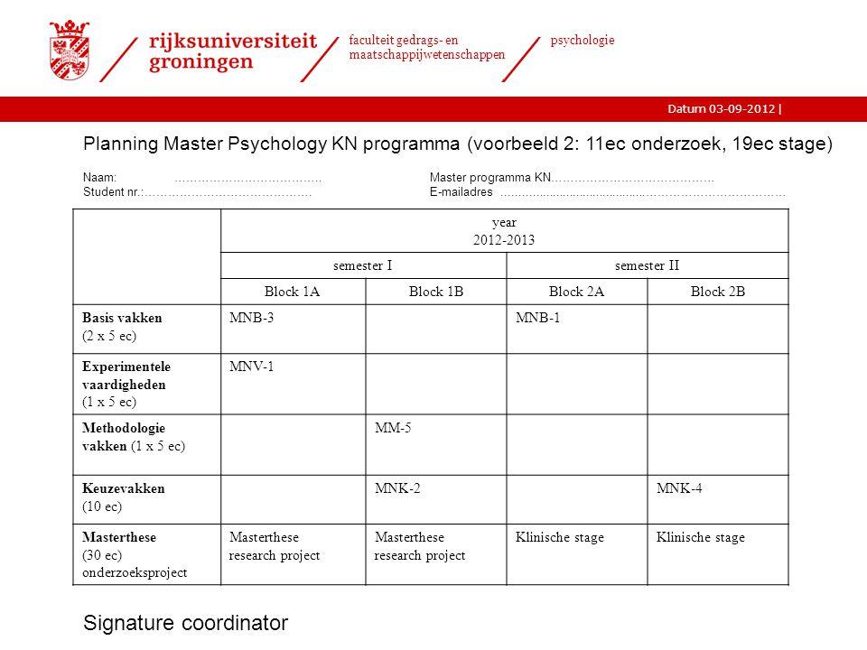 |Datum 03-09-2012 faculteit gedrags- en maatschappijwetenschappen psychologie Planning Master Psychology KN programma (voorbeeld 2: 11ec onderzoek, 19ec stage) Naam: ………………………………..Master programma KN…………………………………… Student nr.:…………………………………….E-mailadres...........................................……………………………… year 2012-2013 semester Isemester II Block 1ABlock 1BBlock 2ABlock 2B Basis vakken (2 x 5 ec) MNB-3MNB-1 Experimentele vaardigheden (1 x 5 ec) MNV-1 Methodologie vakken (1 x 5 ec) MM-5 Keuzevakken (10 ec) MNK-2MNK-4 Masterthese (30 ec) onderzoeksproject Masterthese research project Masterthese research project Klinische stage Signature coordinator