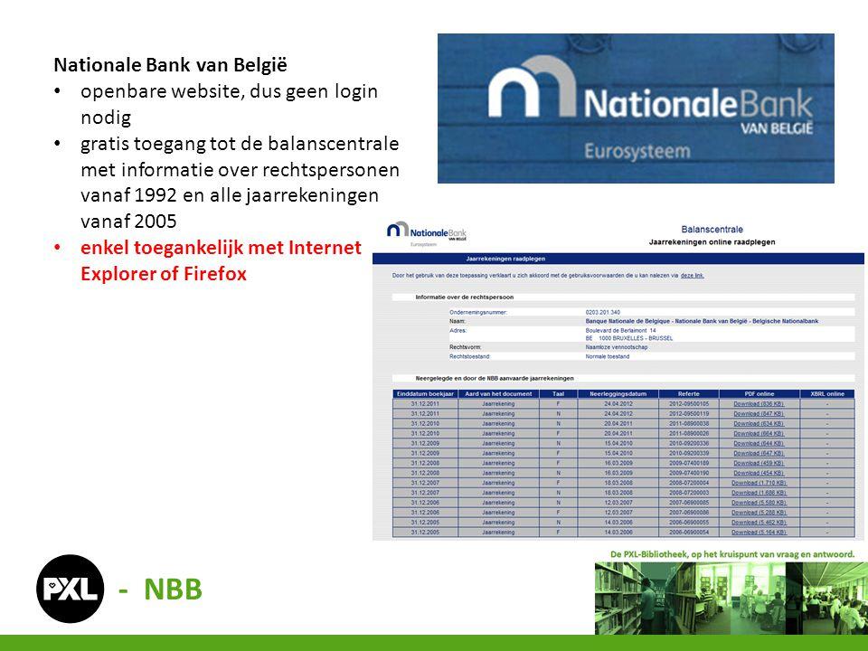 Nationale Bank van België • openbare website, dus geen login nodig • gratis toegang tot de balanscentrale met informatie over rechtspersonen vanaf 199