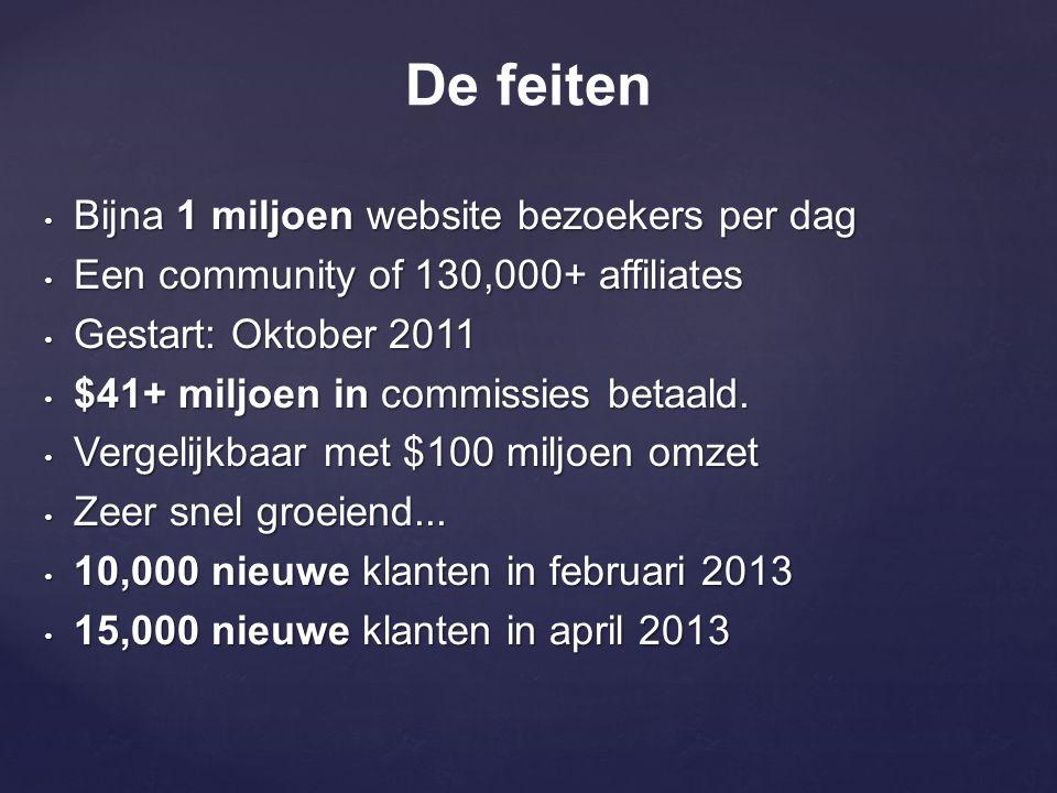 • Bijna 1 miljoen website bezoekers per dag • Een community of 130,000+ affiliates • Gestart: Oktober 2011 • $41+ miljoen in commissies betaald. • Ver