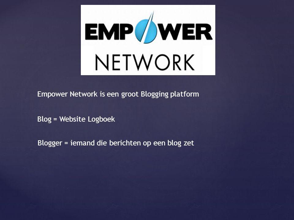 Blog = Website Logboek Blogger = iemand die berichten op een blog zet Empower Network is een groot Blogging platform