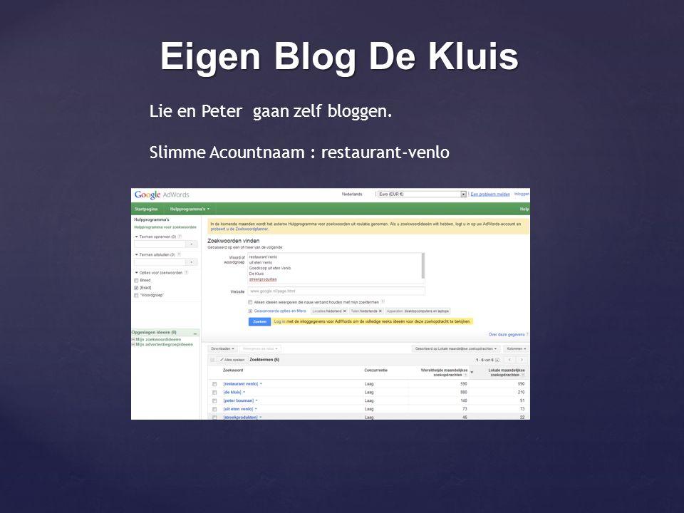 Eigen Blog De Kluis Lie en Peter gaan zelf bloggen. Slimme Acountnaam : restaurant-venlo
