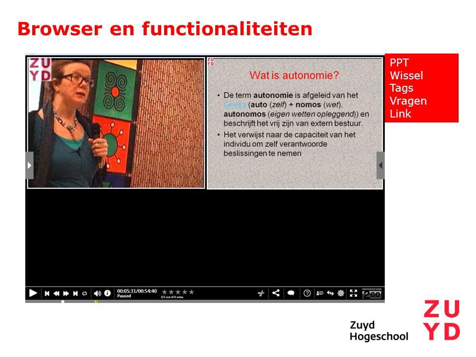 Browser en functionaliteiten PPT Wissel Tags Vragen Link