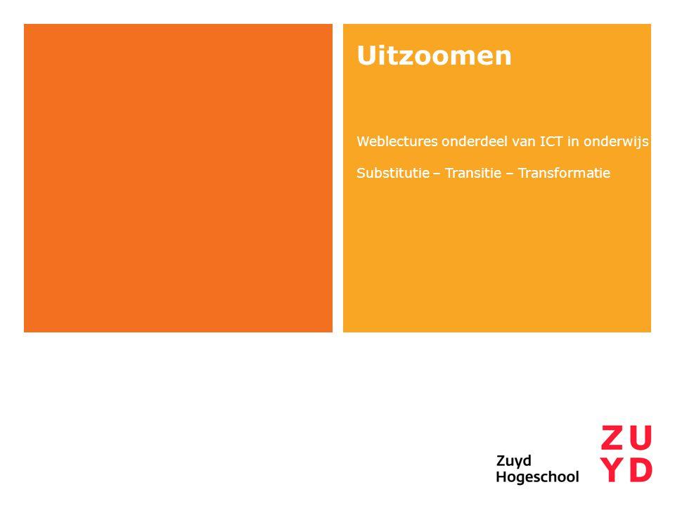 Uitzoomen Weblectures onderdeel van ICT in onderwijs Substitutie – Transitie – Transformatie