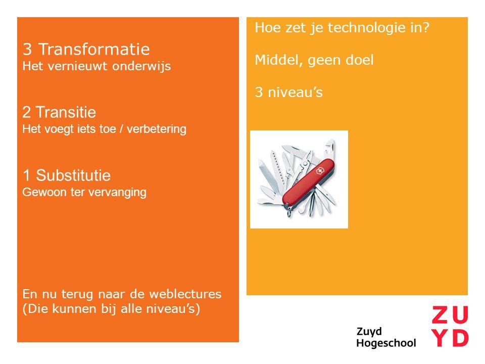 Hoe zet je technologie in? Middel, geen doel 3 niveau's 3 Transformatie Het vernieuwt onderwijs 2 Transitie Het voegt iets toe / verbetering 1 Substit