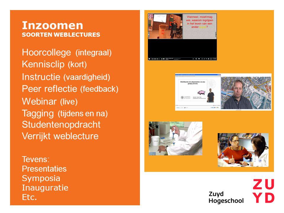 Inzoomen SOORTEN WEBLECTURES Hoorcollege (integraal) Kennisclip (kort) Instructie (vaardigheid) Peer reflectie (feedback) Webinar (live) Tagging (tijdens en na) Studentenopdracht Verrijkt weblecture Tevens: Presentaties Symposia Inauguratie Etc.