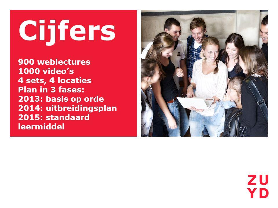 Cijfers 900 weblectures 1000 video's 4 sets, 4 locaties Plan in 3 fases: 2013: basis op orde 2014: uitbreidingsplan 2015: standaard leermiddel