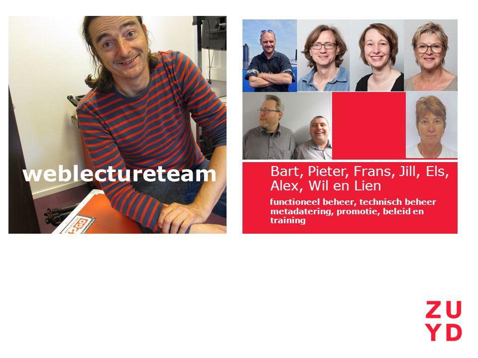 Bart, Pieter, Frans, Jill, Els, Alex, Wil en Lien functioneel beheer, technisch beheer metadatering, promotie, beleid en training weblectureteam