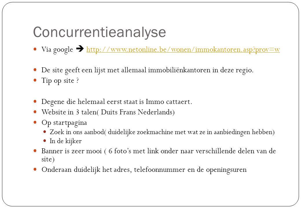 Concurrentieanalyse  Via google  http://www.netonline.be/wonen/immokantoren.asp?prov=whttp://www.netonline.be/wonen/immokantoren.asp?prov=w  De sit