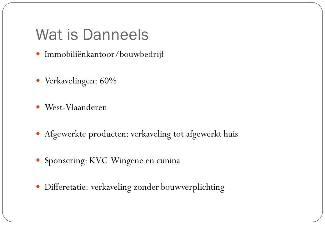 Wat is Danneels  Immobiliënkantoor/bouwbedrijf  Verkavelingen: 60%  West-Vlaanderen  Afgewerkte producten: verkaveling tot afgewerkt huis  Sponse