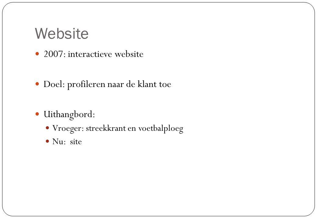 Website  2007: interactieve website  Doel: profileren naar de klant toe  Uithangbord:  Vroeger: streekkrant en voetbalploeg  Nu: site