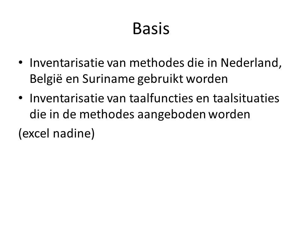 Basis • Inventarisatie van methodes die in Nederland, België en Suriname gebruikt worden • Inventarisatie van taalfuncties en taalsituaties die in de methodes aangeboden worden (excel nadine)
