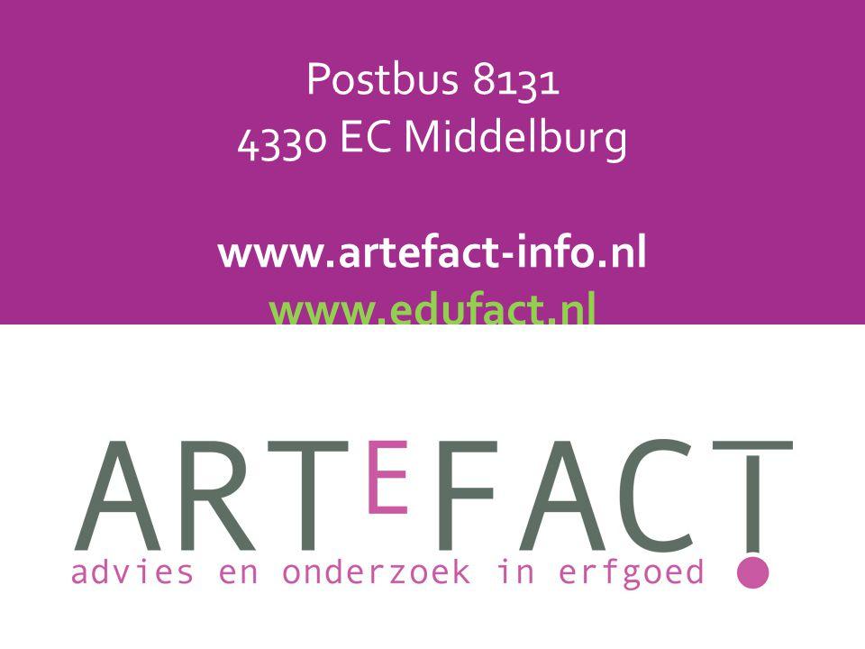 Postbus 8131 4330 EC Middelburg www.artefact-info.nl www.edufact.nl info@artefact-info.nl