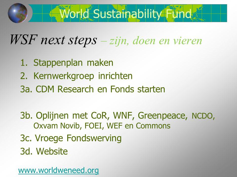 WSF next steps – zijn, doen en vieren 1.Stappenplan maken 2.Kernwerkgroep inrichten 3a. CDM Research en Fonds starten 3b. Oplijnen met CoR, WNF, Green