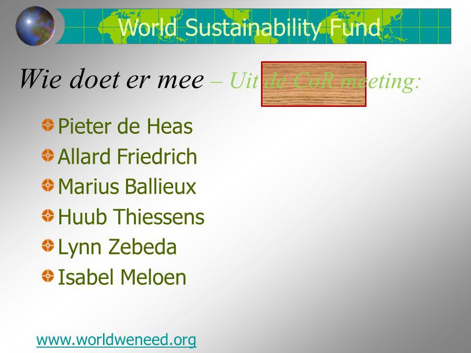 Wie doet er mee – Uit de CoR meeting: Pieter de Heas Allard Friedrich Marius Ballieux Huub Thiessens Lynn Zebeda Isabel Meloen World Sustainability Fu