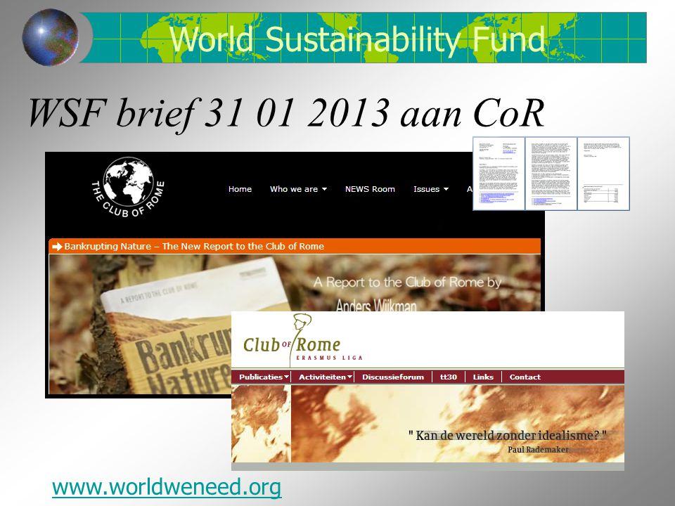 World Sustainability Fund www.worldweneed.org
